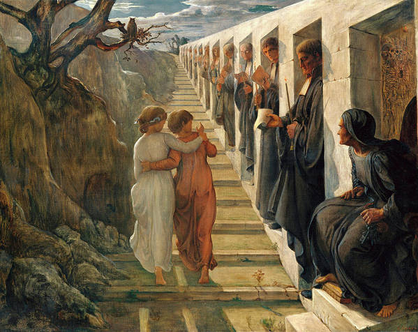 The Poem Of The Soul Art Print featuring the painting The Poem Of The Soul - The Wrong Path by Louis Janmot