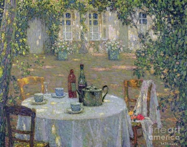 The Table In The Sun In The Garden Art Print featuring the painting The Table In The Sun In The Garden by Henri Le Sidaner