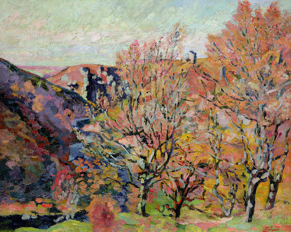 The Print featuring the painting The Valley Of The Sedelle In Crozant by Jean Baptiste Armand Guillaumin