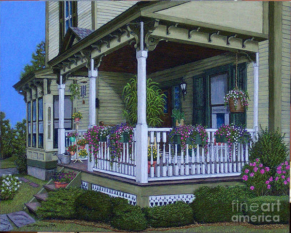 Landscape Art Print featuring the painting The Victorian Porch by David Francis