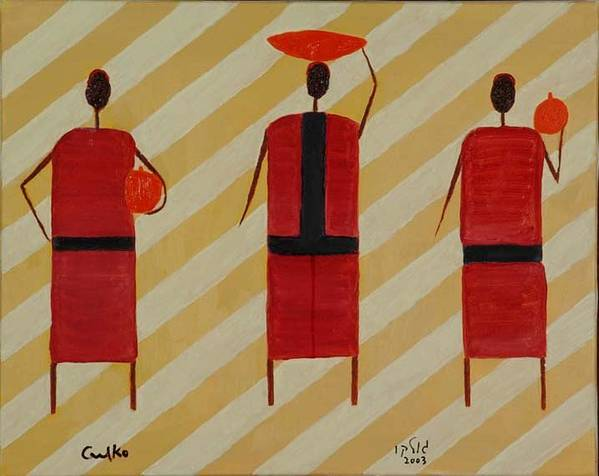 Figures Art Print featuring the painting Three Carrier Ladies by Harris Gulko