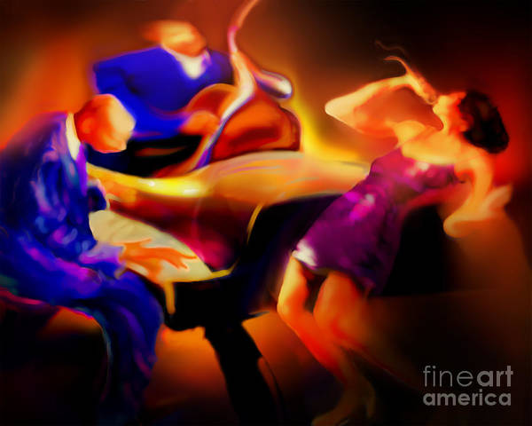 Jazz Art Art Print featuring the painting Three by Mike Massengale