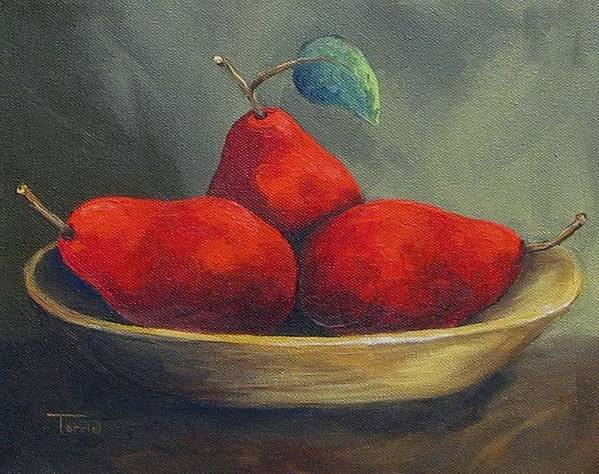 Pear Art Print featuring the painting Three Red Pears by Torrie Smiley