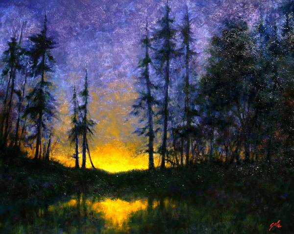 Landscape. Nocturn Art Print featuring the painting Timberline by Jim Gola