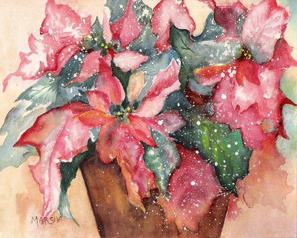 Poinsettia Red Green Holiday Winter Christmas Plant Flower Art Print featuring the painting 'tis The Season by Marsha Woods