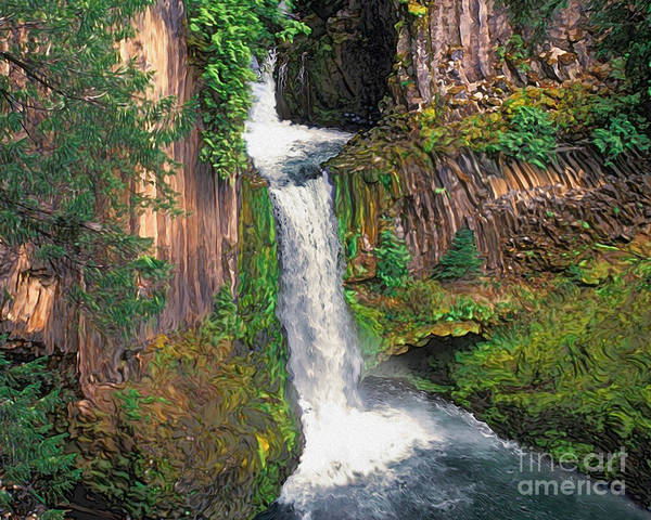 Toketee Falls Art Print featuring the painting Toketee Falls by Todd L Thomas