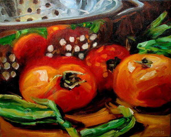 Still Life Paintings Art Print featuring the painting Tomatoes And Onions by Brian Simons