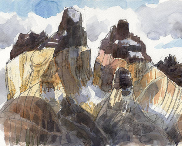 Landscape Art Print featuring the painting Torres Del Paine, Chile by Judith Kunzle