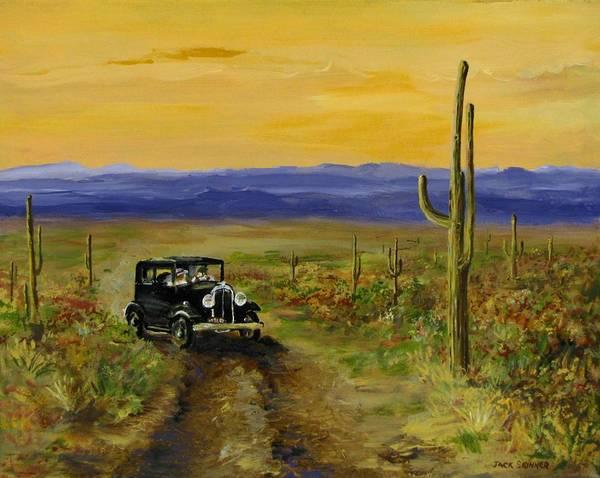 Desert Art Print featuring the painting Touring Arizona by Jack Skinner