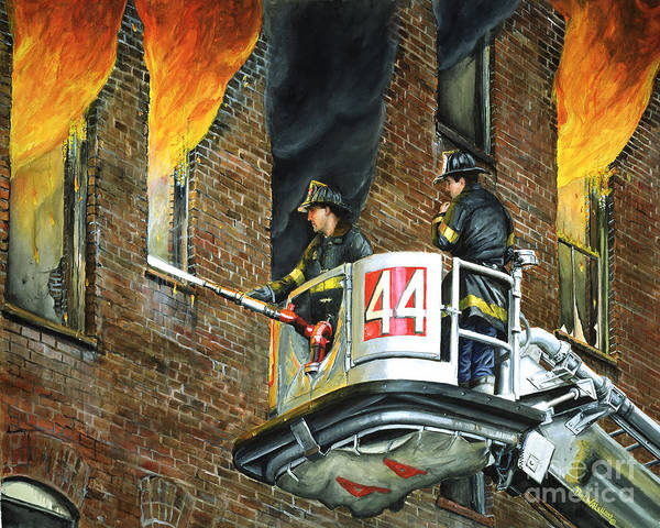Fdny Art Print featuring the painting Tower Ladder 44-south Bronx by Paul Walsh