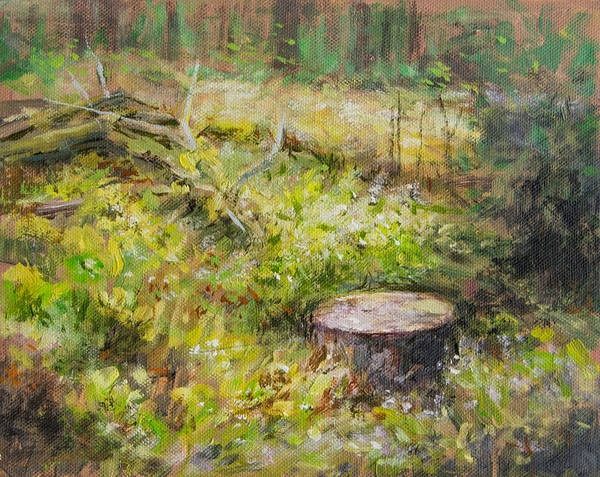 Tree Art Print featuring the painting Tree Stump In Vikersund by Arild Amland