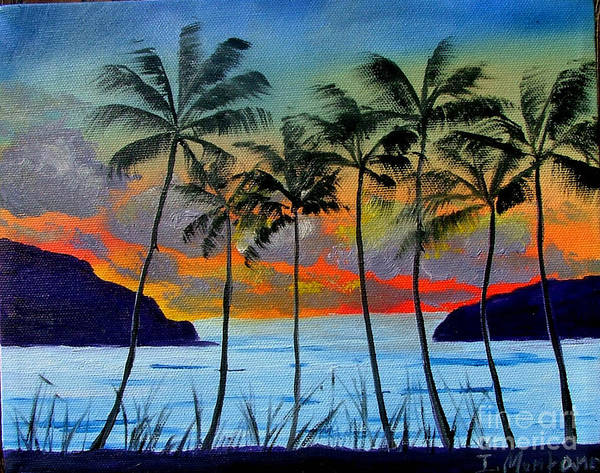 Sunset Art Print featuring the painting Tropical Sunset by Inna Montano