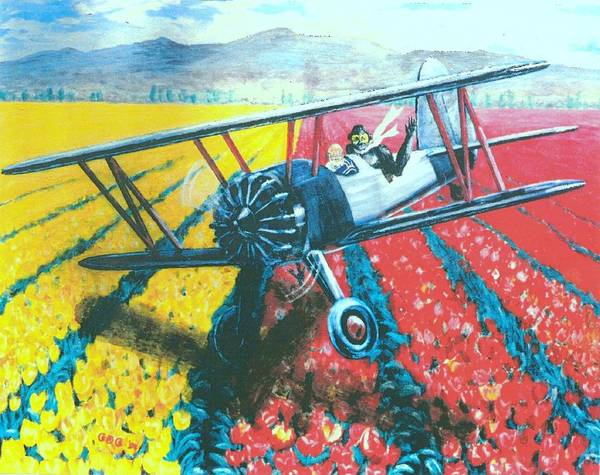 Biplanes Art Print featuring the painting Tulip Fly-by by George I Perez