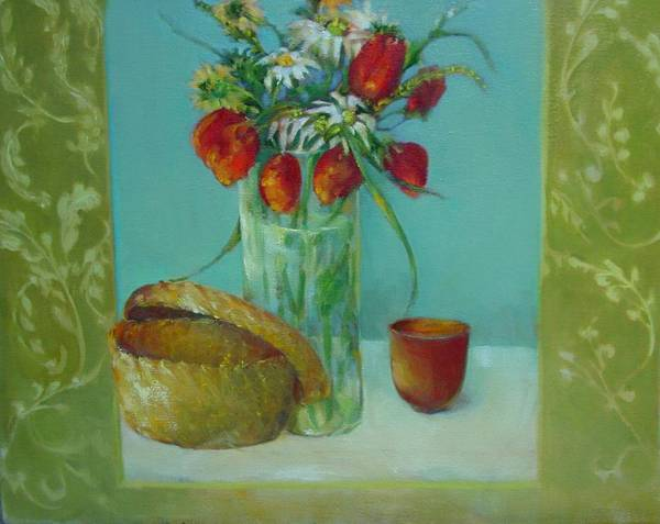 Contemporary Floral Painting Art Print featuring the painting Tulips And Daisies        Copyrighted by Kathleen Hoekstra