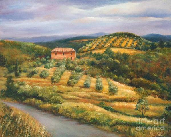 Landscape Art Print featuring the painting Tuscan Summer by Ann Cockerill