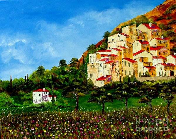 Landscape Art Print featuring the painting Tuscany Spring by Inna Montano