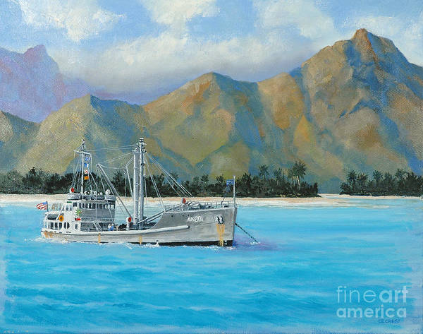 Seascape Art Print featuring the painting Uss Reluctant Anchored Off Ennui by Glenn Secrest