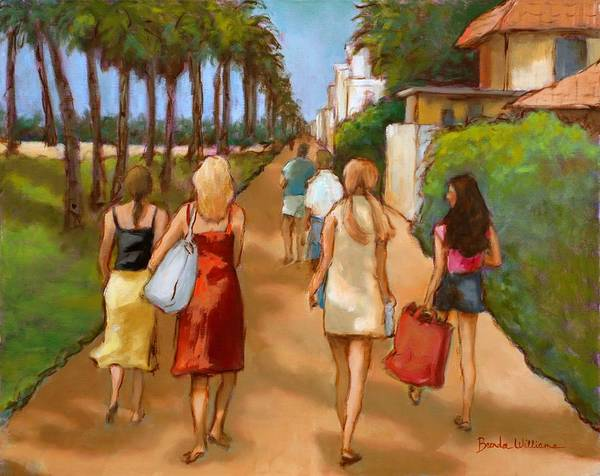 Girls Art Print featuring the painting Venice Beach Promenade by Brenda Williams