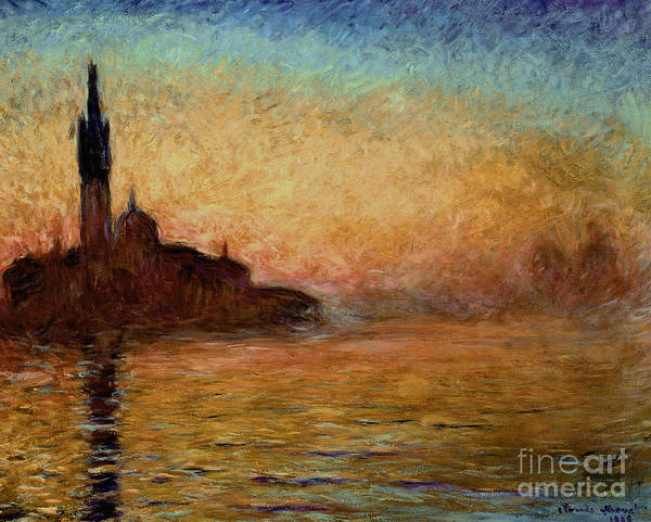 View Art Print featuring the painting View Of San Giorgio Maggiore Venice By Twilight by Claude Monet