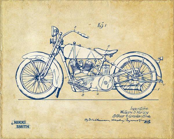 Harley-davidson Art Print featuring the digital art Vintage Harley-davidson Motorcycle 1928 Patent Artwork by Nikki Smith