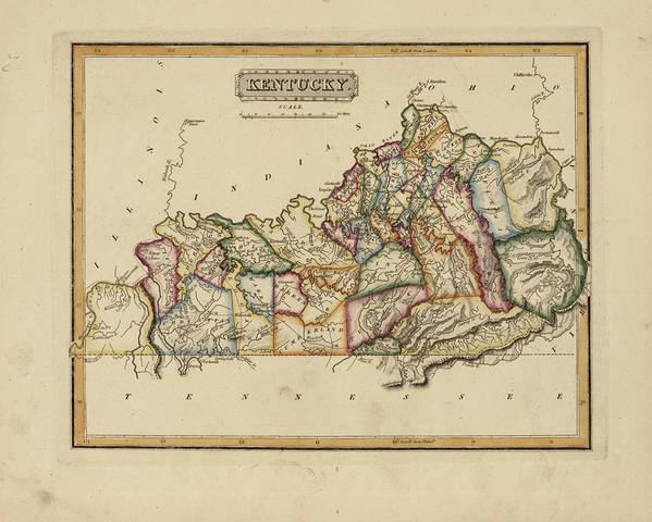photo relating to Printable Map of Kentucky referred to as Antique Map Of Kentucky Artwork Print