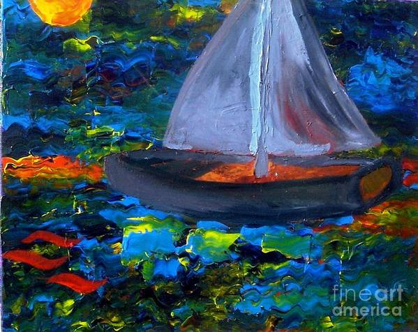 Serpent Art Print featuring the painting Voyage With A Sea Serpent by Karen L Christophersen
