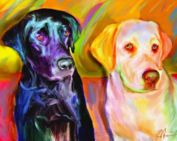 Labradors Print featuring the digital art Waiting by Karen Derrico
