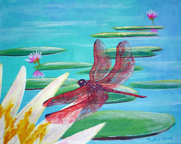 Water Art Print featuring the painting Water Lilies And Dragonfly by Susan Kubes