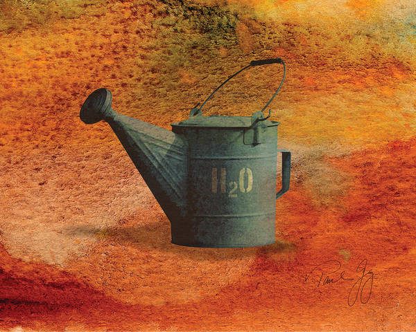 Water Can Art Print featuring the mixed media Watering Can H20 by Paul Gaj