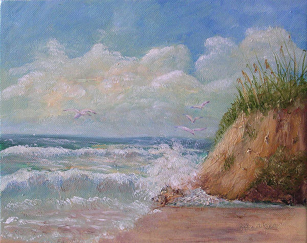 Seagulls Art Print featuring the painting Waves by Barbara Harper