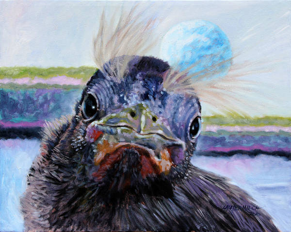 Baby Bird Art Print featuring the painting Welcome To The World by John Lautermilch