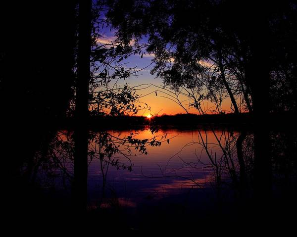 Nature Sunset Lake Darkness Shadows Sun Sky Reflection Art Print featuring the photograph When Darkness Comes by Mitch Cat