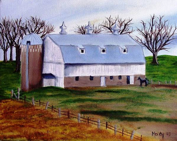White Art Print featuring the painting White Barn On A Cloudy Day by Mendy Pedersen