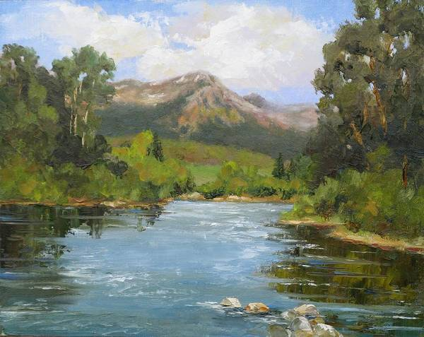 Landscape Art Print featuring the painting Willow Grove On The Blue River by Barrett Edwards