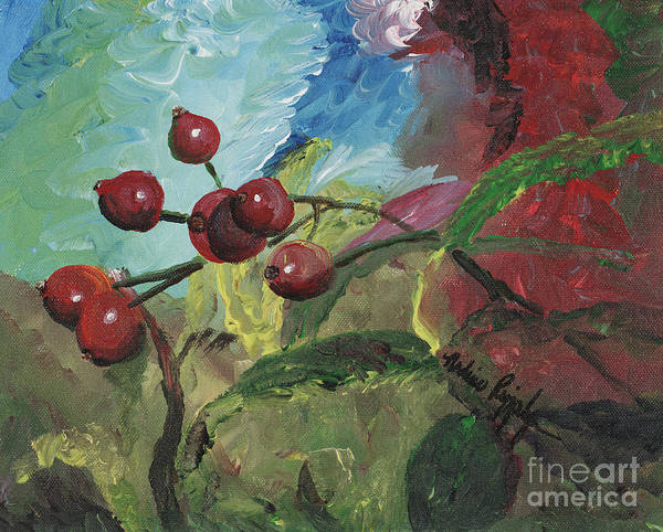 Berries Art Print featuring the painting Winter Berries by Nadine Rippelmeyer