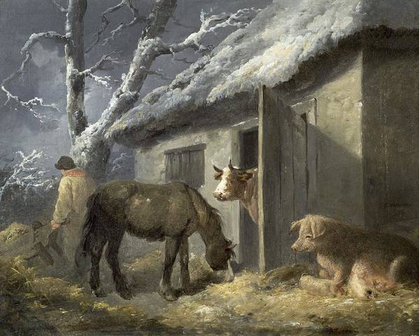 Winter Art Print featuring the painting Winter Farmyard by George Morland
