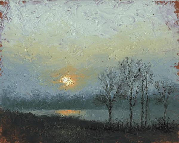Arkansas Art Print featuring the painting Winter Mist by Timothy Jones