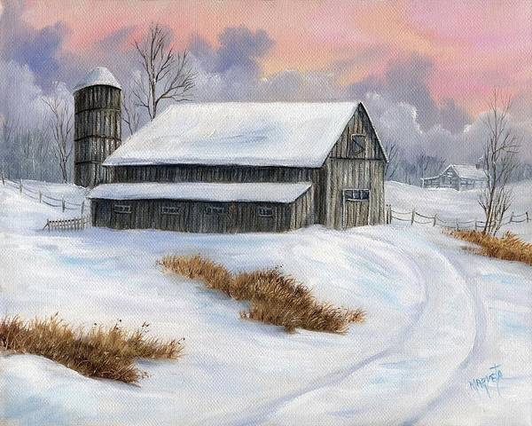 Landscape Snow Landscape Art Print featuring the painting Winter Moment by Marveta Foutch
