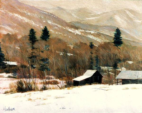 Art Print featuring the painting Winter On Four Mile Road by Mark Henthorn