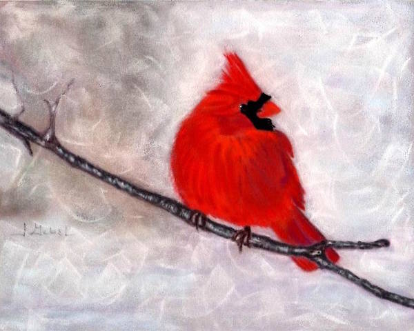 Animal Art Print featuring the pastel Winter Watch by Laura Gabel