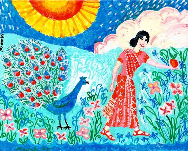 Sue Burgess Art Print featuring the painting Woman With Apple And Peacock by Sushila Burgess
