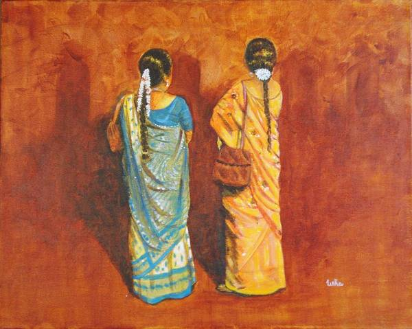 Women Art Print featuring the painting Women In Sarees by Usha Shantharam