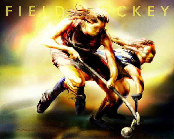 Field Hockey Art Print featuring the painting Women In Sports - Field Hockey by Mike Massengale