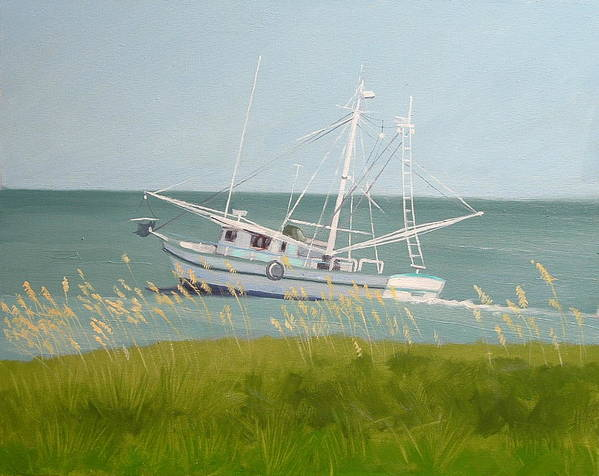 Shrimp Boat Art Print featuring the painting Working In Close by Robert Rohrich