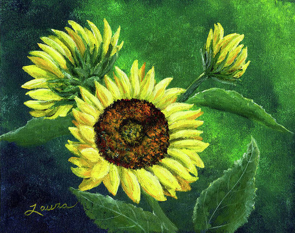Sunflower Art Print featuring the painting Yellow Sunflowers On Green by Laura Iverson
