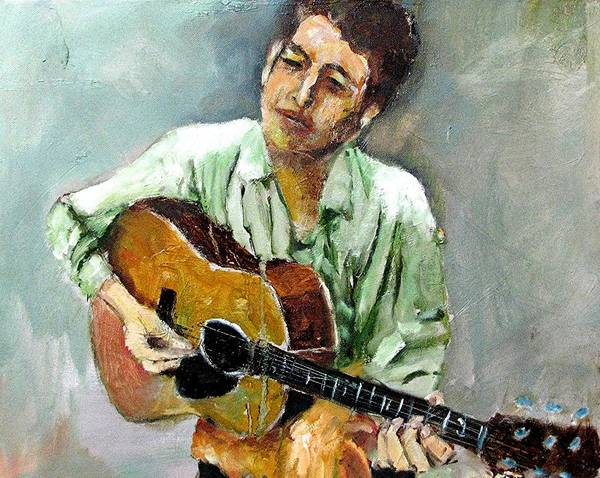 Musicians Bob Dylan Art Print featuring the painting Young Dylan 1 by Udi Peled