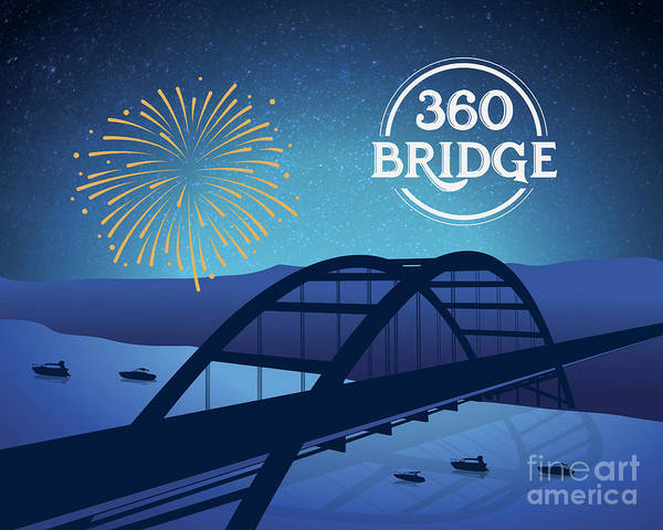 360 Bridge Art Print featuring the digital art 360 Bridge by Austin Bat Tours