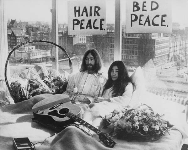Singer Art Print featuring the photograph Bed-in For Peace by Keystone