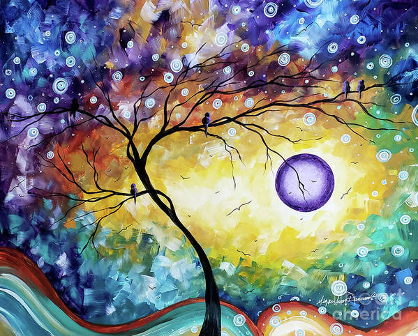 Abstract Art Print featuring the painting Colorful Whimsical Original Landscape Tree Painting Purple Reign By Megan Duncanson by Megan Duncanson