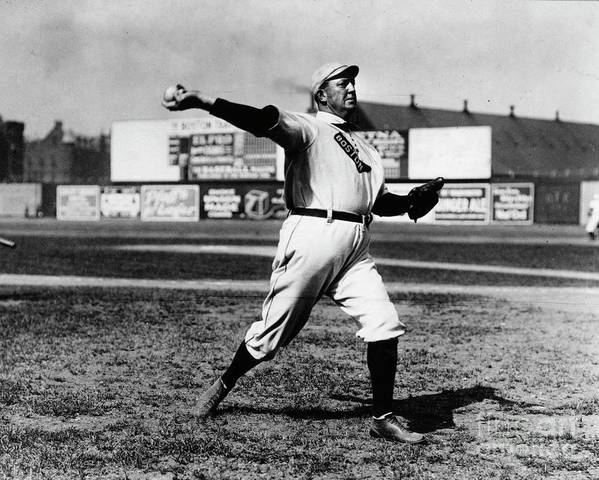 People Art Print featuring the photograph Cy Young Boston Wind Up by Transcendental Graphics